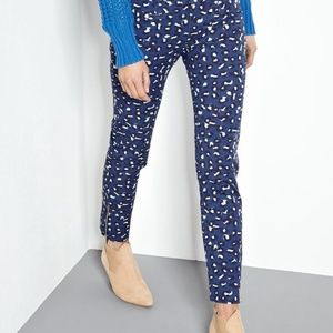 A.P.C. Blue pants with Ankle zip Leopard print